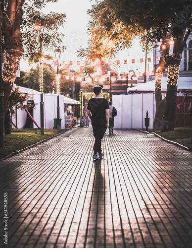 hombre de espaldas caminando por parque al atardecer Wallpaper Mural