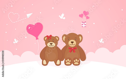 Two cute teddy bears, romantic composition in paper style, vector illustration on a pink background #314948558