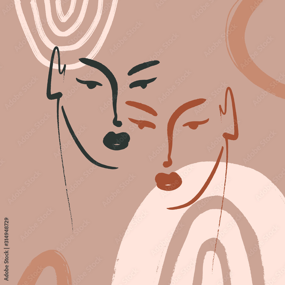 Modern Boho Pastel Terracotta Collage Line Drawing African Black Women Couple Twin Faces Hairstyle Fashion Beauty Minimalist Vector Illustration Modern Abstract Graphics Print