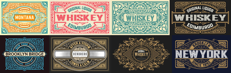 FototapetaMega set of 8 vintage labels. Vector layered