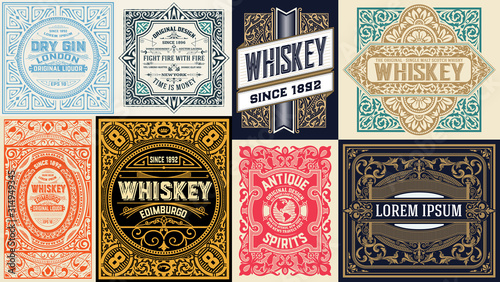 Mega set of 8 vintage cards. Vector layered - 314949345
