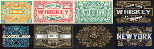 Mega set of 8 vintage labels. Vector layered Canvas Print