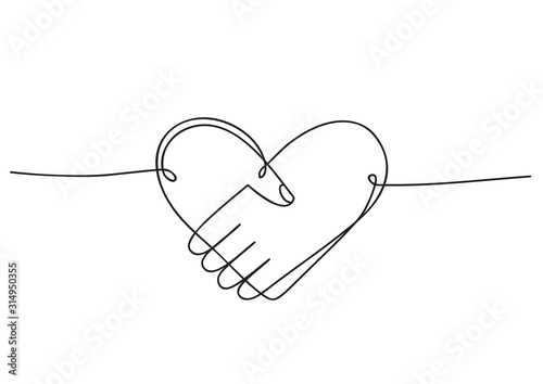 Heart of handshake as friendship and love icon. Continuous line art drawing.