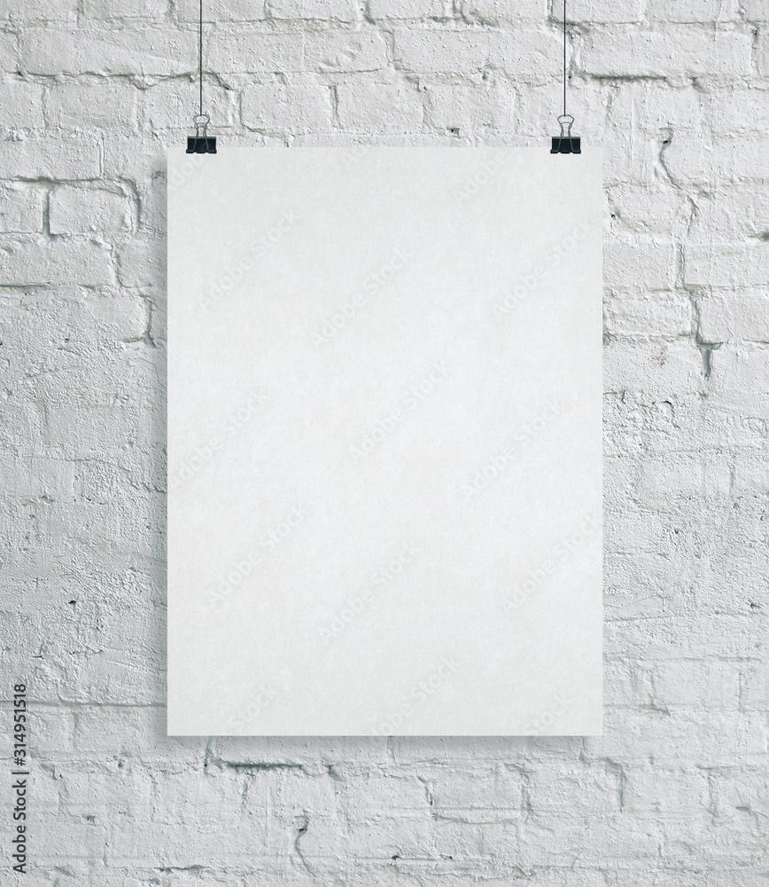 Pusty plakat na ściana z cegieł