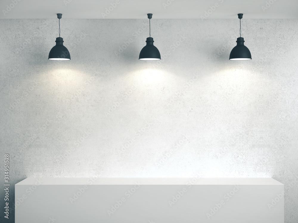 Fototapeta Blank concrete wall, podium and three lamp.