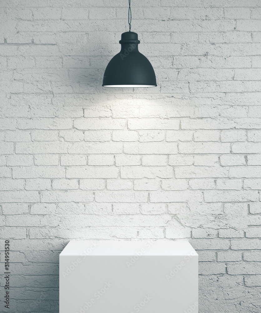 Fototapeta Blank brick wall, podium and lamp