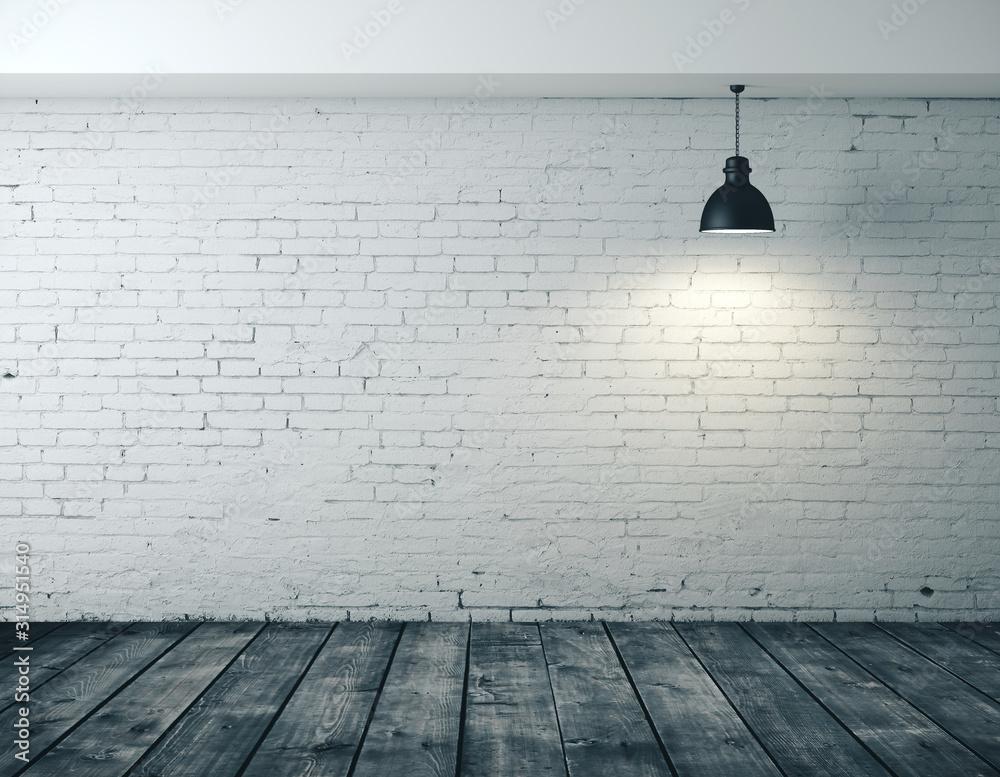 Fototapeta Interior room with blank brick wall