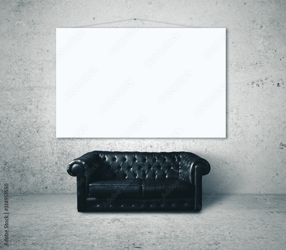 Fototapeta Black leather sofa and blank banner