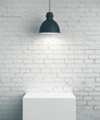 canvas print picture Blank brick wall, podium and lamp