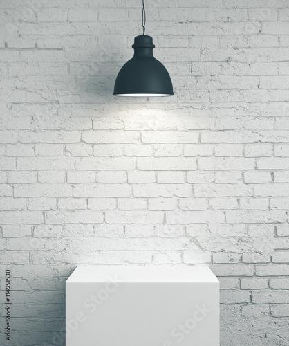 Obraz Blank brick wall, podium and lamp - fototapety do salonu