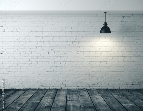 Obraz Interior room with blank brick wall - fototapety do salonu