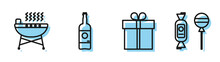 Set Line Gift Box , Barbecue Grill , Beer Bottle And Lollipop Icon. Vector