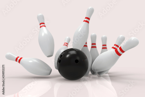 Slika na platnu Black Bowling Ball and scattered white skittles isolated on white background