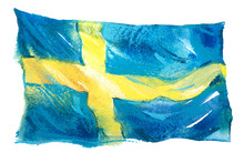 Sweden, Swedish Flag. Hand Drawn Watercolor Illustration.