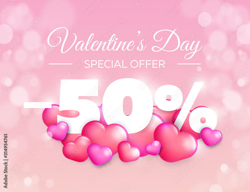 Fototapeta Valentine day special offer banner. Vector sale badge design. Lovely red and pink hearts on color background. 50% off discount.