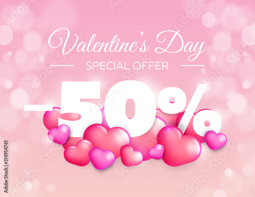Obraz Valentine day special offer banner. Vector sale badge design. Lovely red and pink hearts on color background. 50% off discount. - fototapety do salonu