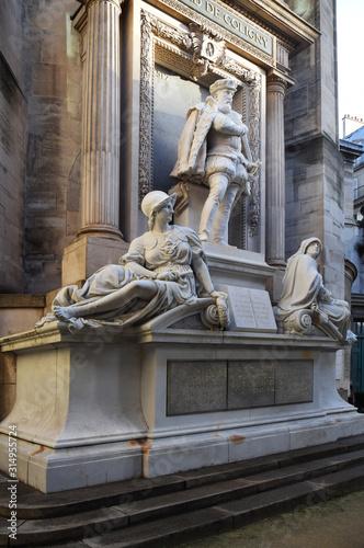 Fotografia Statue de Gaspard de Coligny au temple protestant de l'oratoire du Louvre à Pari
