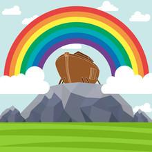 Noah's Ark. Rainbow Over The Ark. Sign From God. The Flood