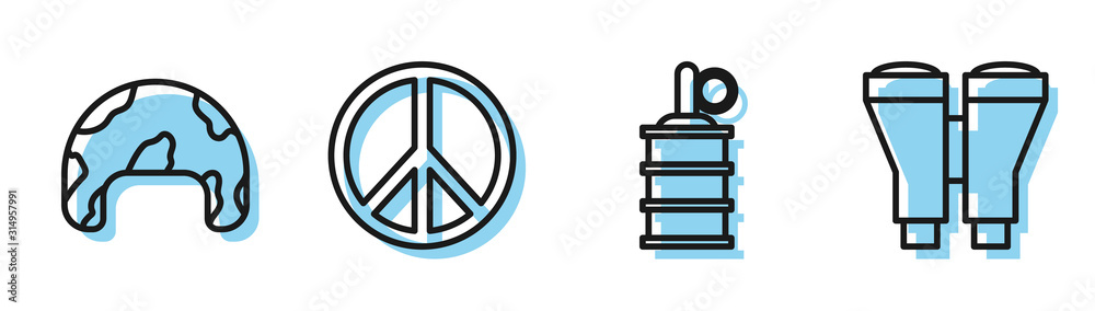 Set line Hand grenade , Military helmet , Peace and Binoculars icon. Vector