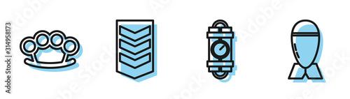 Set line Detonate dynamite bomb stick and timer clock, Brass knuckles , Military rank and Aviation bomb icon Fototapet