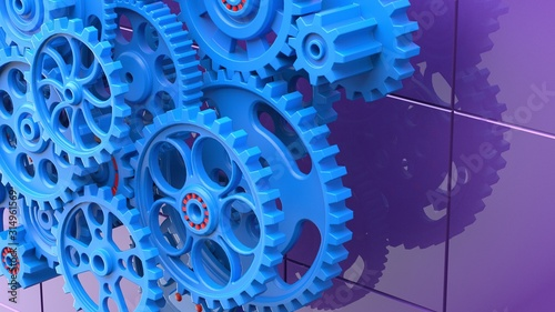 Fototapety, obrazy: Mechanism blue gears and cogs at work on purple background. Industrial machinery. 3D illustration. 3D high quality rendering.