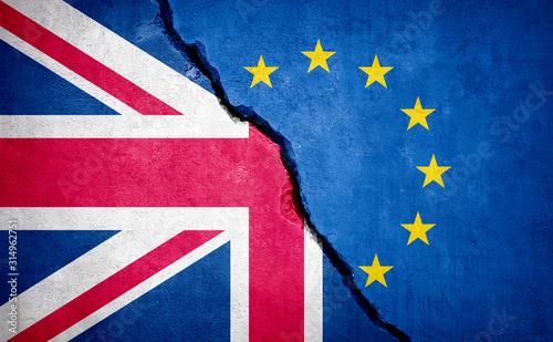 Brexit concept broken wall.