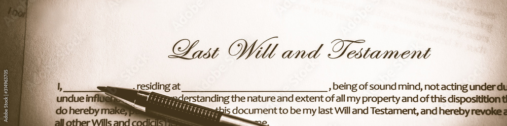 Fototapeta  Last Will And Testament Document With Pen - Death And Inheritance Concept