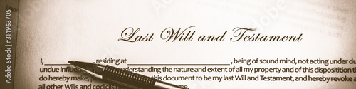 Obraz  Last Will And Testament Document With Pen - Death And Inheritance Concept - fototapety do salonu