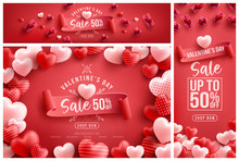 Valentine's Day Sale 50% Off Poster Or Banner With Many Sweet Hearts And Sweet Gifts On Red Background.Promotion And Shopping Template Or Background For Love And Valentine's Day Concept