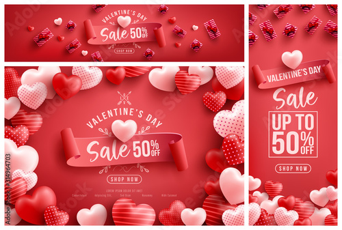 Obraz Valentine's Day Sale 50% off Poster or banner with many sweet hearts and sweet gifts on red background.Promotion and shopping template or background for Love and Valentine's day concept - fototapety do salonu