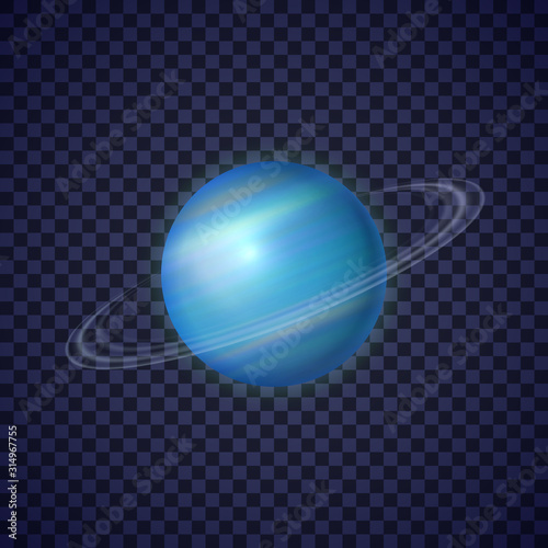 Canvastavla Uranus planet with rings on transparent background