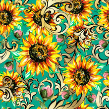 Sunflowers With Poppies Acanthus Seamless Pattern