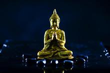 金の仏像と黒背景