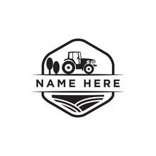 Vintage Farm Tractor Logo Desi...