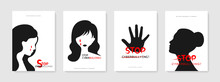 Concept Stop Cyberbullying On Social Media Decorated With Woman Head Silhouette And Hand. Creative Design To Stop Hurting The Mind Of Others Through Social Media. Vector Illustration.