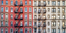 New York City Historic Apartment Building Panoramic View With Windows And Fire Escapes