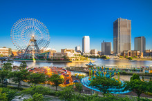 Yokohama Harbor Skyline With Ferris Wheel, Japan