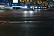 blurred defocused lights of night traffic in Minsk city