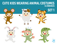 Cute Kids Wearing Zodiac Animal Costumes Isolated On White Background. Diverse Of Costume And Action Poses. Flat Design Character Illustration.