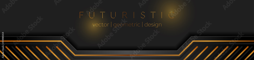 Fototapeta Black and golden abstract technical banner design. Futuristic geometric vector background
