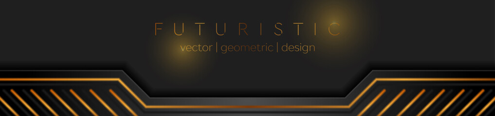 Black and golden abstract technical banner design. Futuristic geometric vector background