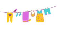 Baby Clothes On Clothesline Hanging And Drying. Clean And Bright Apparel. Cartoon Vector Illustration Isolated