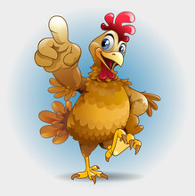 Vector Illustration, Chicken Showing  You Smomething As A Mascot Or Symbol.