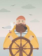 Sailor At The Helm Smoking Pip...