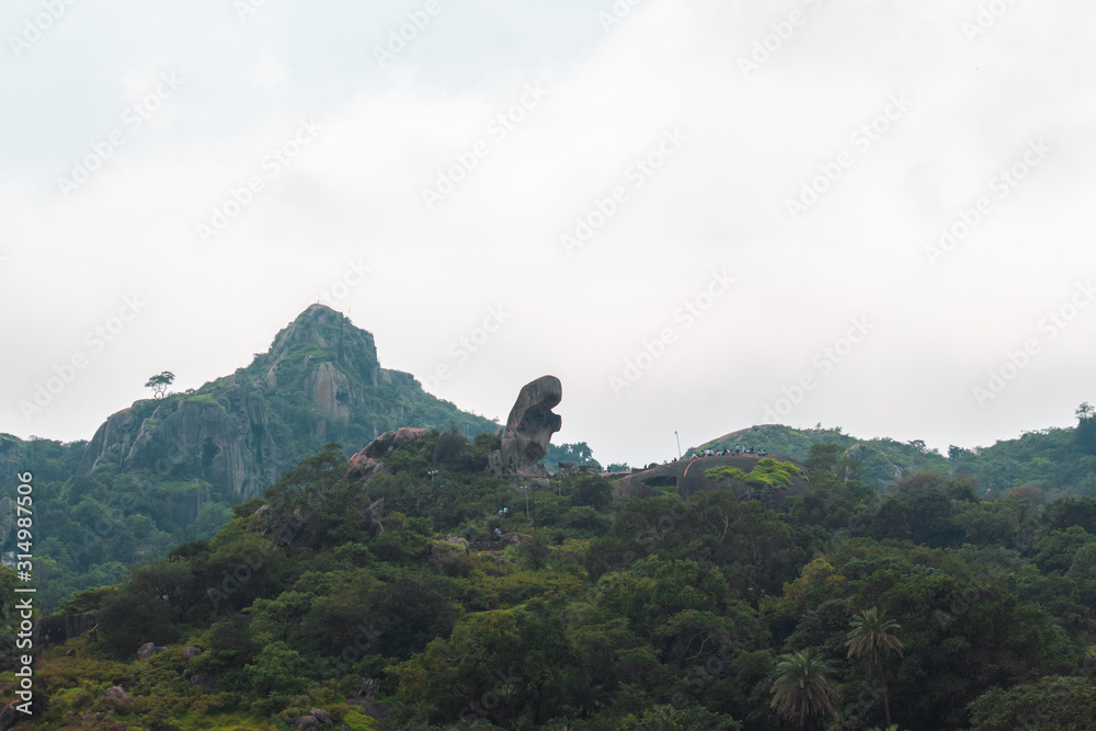 View of the Toad Rock at Mount Abu in Rajasthan, India