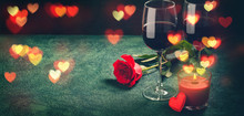 Wine Glasses, Rose And Hearts ...