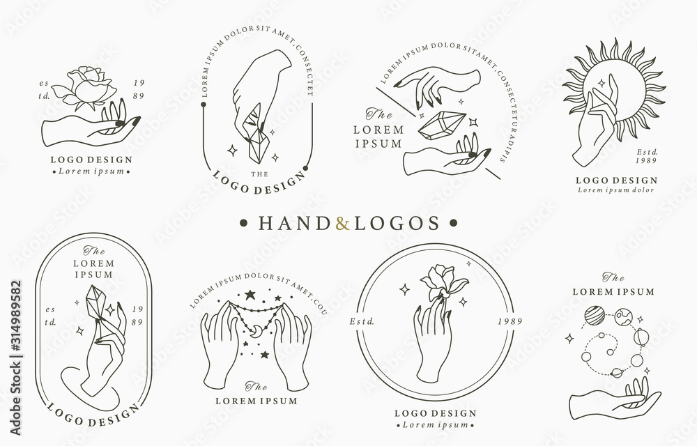 Fototapeta Beauty boho logo collection with hand, rose,crystal,moon,sun,star.Vector illustration for icon,logo,sticker,printable and tattoo