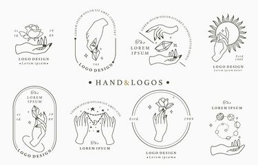 Beauty boho logo collection with hand, rose,crystal,moon,sun,star.Vector illustration for icon,logo,sticker,printable and tattoo