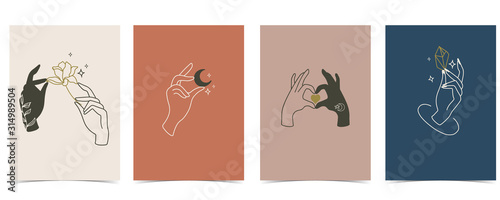 Collection of chic background set with hand,crystal,moon,star,heart фототапет