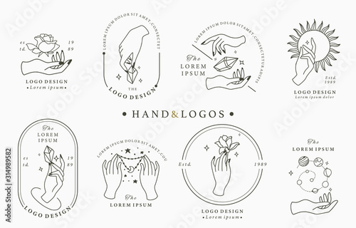 Beauty boho logo collection with hand, rose,crystal,moon,sun,star Wallpaper Mural
